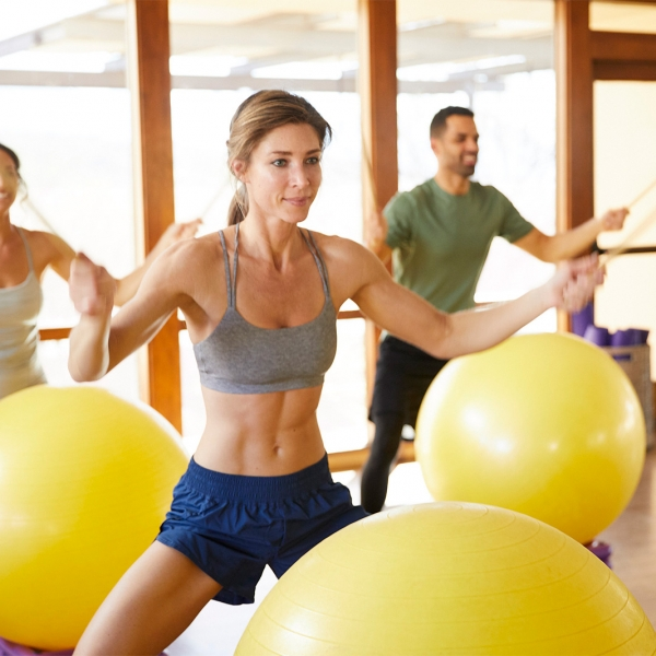 Fitness class with stability balls at Miraval.